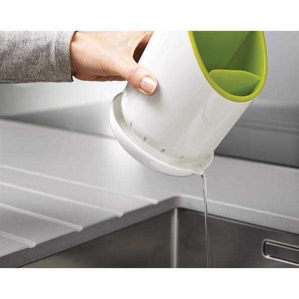 Сушилка для столовых приборов со сливом Dock™ зелёная