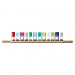 Набор из 12 стопок на подставке Paddle 77 см цветное стекло