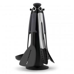 Набор из 6 кухонных инструментов Elevate™ с щипцами на подставке серый