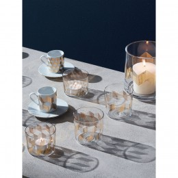 Набор из 4 чашек для кофе с блюдцами Signature Chevron 500 мл, золото