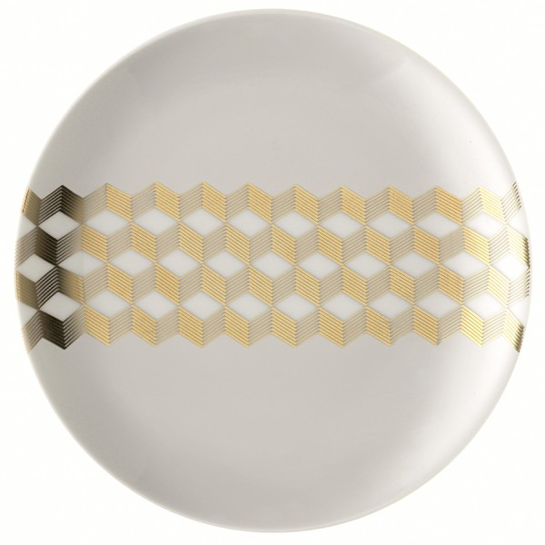 Набор из 4 блюдец Signature Chevron 16 см золото