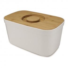 Хлебница пластиковая с разделочной доской из бамбука белая 81097