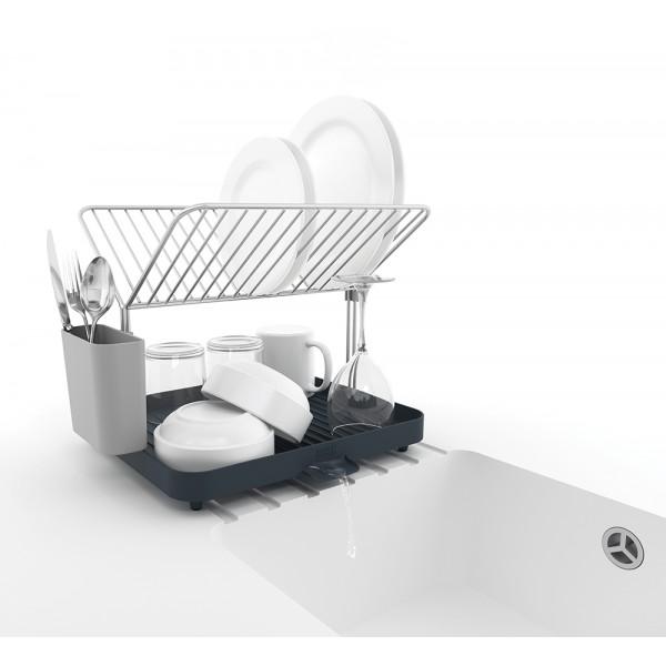 Сушилка для посуды со сливом Y-rack серая