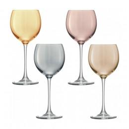 Набор из 4 бокалов для вина LSA Polka 400 мл металлик