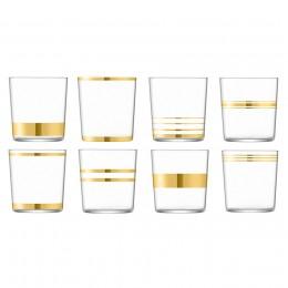 Набор из 8 стаканов с золотым декором Deco 390 мл