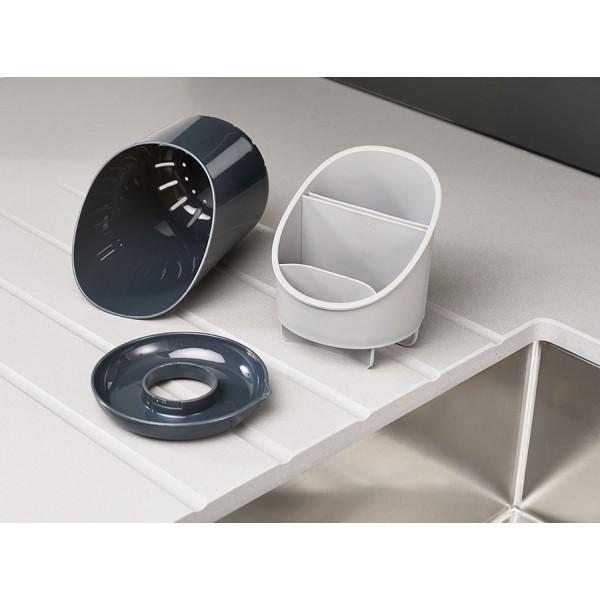 Сушилка для столовых приборов со сливом Dock™ серая