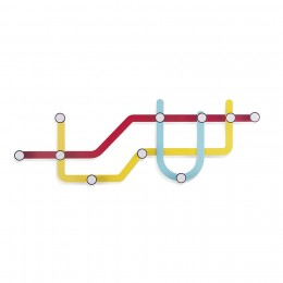 Вешалка с крючками настенная Subway разноцветная