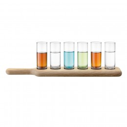 Набор из 6 стопок и деревянной подставки Paddle 40 см прозрачное стекло