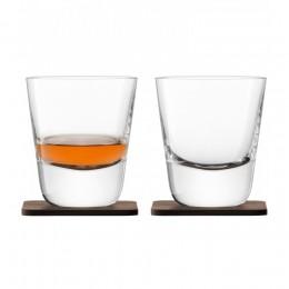 Набор из 2 стаканов Arran Whisky с деревянными подставками 250 мл