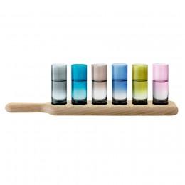 Набор из 6 стопок на подставке LSA International Paddle 40 см цветное стекло