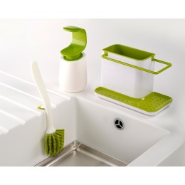 Набор из органайзера для раковины, диспенсера для мыла и щетки для мытья посуды