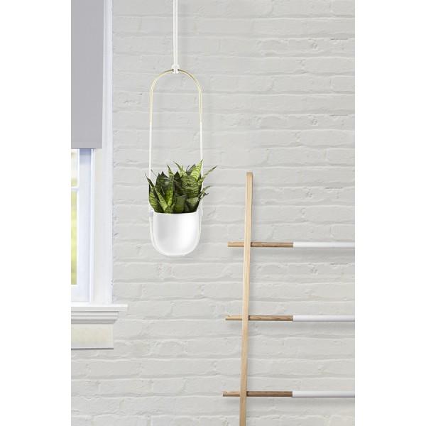 Горшок для растений подвесной белый