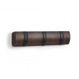 Настенная горизонтальная вешалка Flip 3 черная/орех