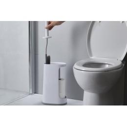 Ёршик для унитаза с большим отсеком для хранения Flex Plus бело-серый
