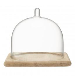 Блюдо со стеклянным куполом Serve 20,5 х 25 см дуб