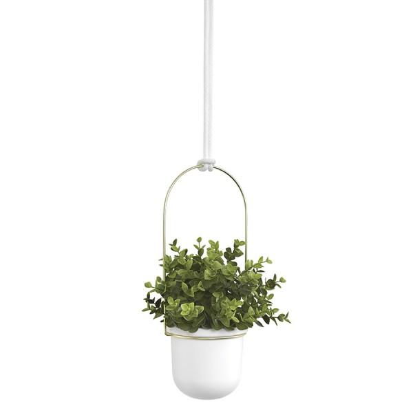 Дисплей с горшками для растений Triflora подвесной белый-латунь