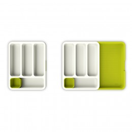 Органайзер для столовых приборов DrawerStore™ раздвижной белый-зеленый